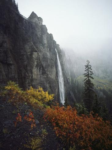 Bridal Veil Falls Plummets Down a Rock Cliff Near Telluride Photographic Print