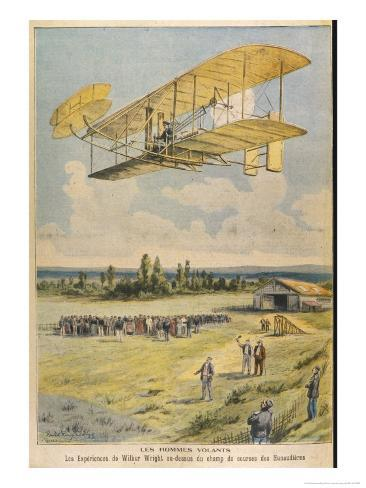 Wilbur Wright Demonstrates His Flying Machine Over the Racecourse Giclee Print