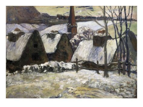 Breton Village in Snow Art Print