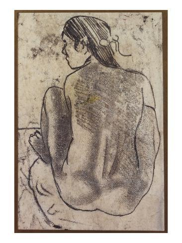 Seated Tahitian Nude from the Back, C.1902 Lámina giclée