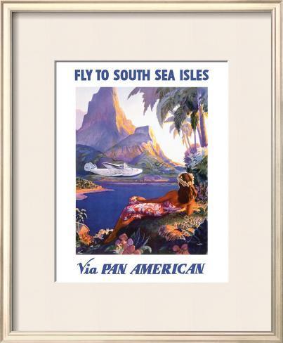 South Sea Isles via Pan Am Framed Giclee Print