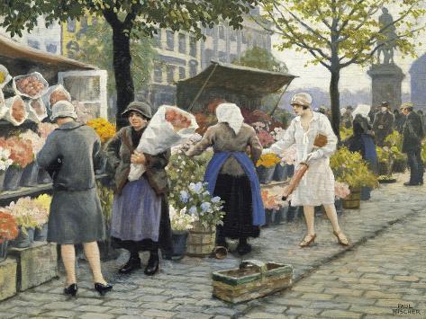 Flower Market at Hojbro Plads Giclee Print