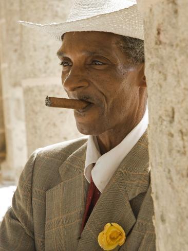 Havana, Cuban Man, Plaza De La Catedral, Havana, Cuba Photographic Print
