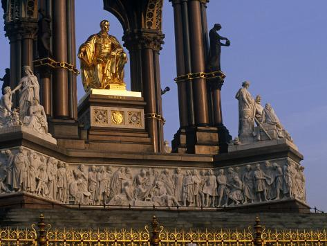 London, This Large Statue of Prince Albert in Hyde Park, Is Seated in a Vast Gothic Shrine, England Photographic Print