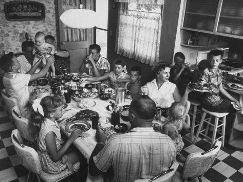 Paul Horsch and His Family During their Sunday Dinner Photographic Print