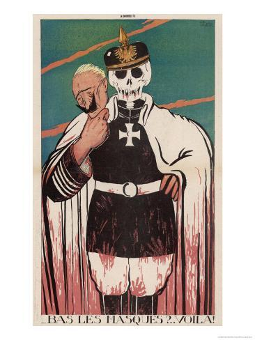 Wilhelm II German Emperor Removes His Mask to Reveal the Skull Underneath Giclee Print