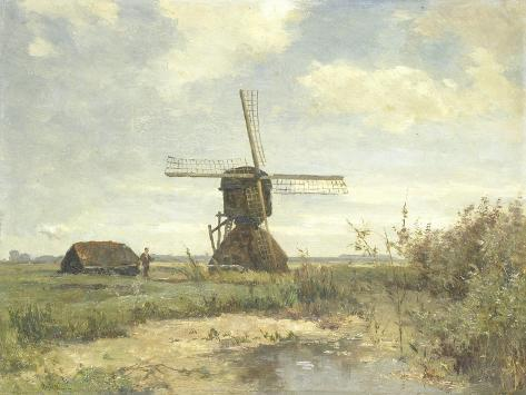 Landscape with a Mill Near the Water in the Foreground Left a Man with a Fishing Rod in a Shed Art Print