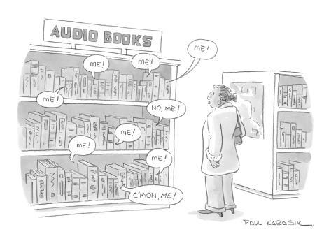 A shelf of audio books calls out to a customer