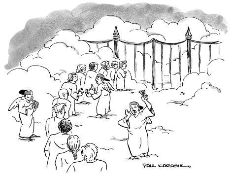 Line of people waiting at gates of Heaven as angel scalpers try to sell th… - New Yorker Cartoon Premium Giclee Print