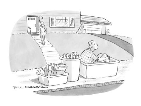 Wife takes out recycling bins one of which contains her husband. - New Yorker Cartoon Premium Giclee Print