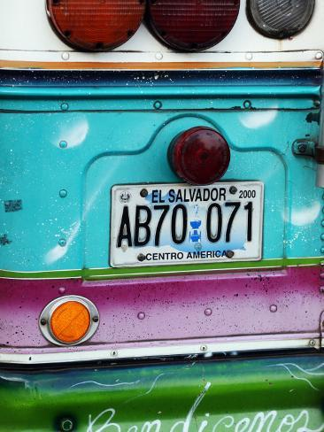 Detail of Numberplate at Back of 'Chicken Bus', Most Common Transport in El Salvador Photographic Print
