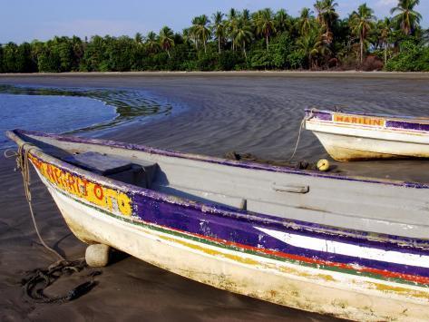 Fishing Boats Moored on Sand at Morro Negrito, Panama Photographic Print