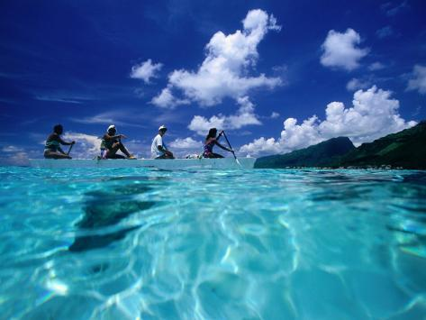 Four Women Paddling Outrigger Canoe on Lagoon at Haapiti, Moorea, the French Polynesia Photographic Print