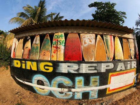 Surfboard Repair Shop, which has a Thriving Trade Due to the Heavy Waves Photographic Print