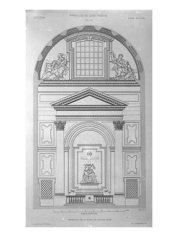 Chapel of the Pieta in St.Peter's, Rome, Engraved by Jean Joseph Sulpis, Published 1882 Giclee Print