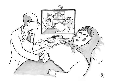 A doctor is seen giving an sonogram to a Russian doll, and the scene is re… - New Yorker Cartoon Premium Giclee Print