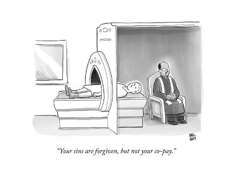 (In an MRI machine, a minister sits as though hearing the patient's confes… - New Yorker Cartoon Premium Giclee Print