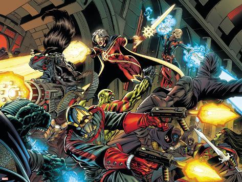 Guardians Of The Galaxy No.1 Group: Rocket Raccoon, Star-Lord and Quasar Poster