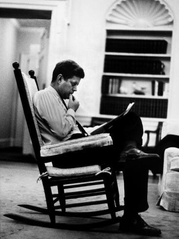 President John F. Kennedy Sitting Alone, Thoughtfully, in His Rocking Chair in the Oval Office Photographic Print