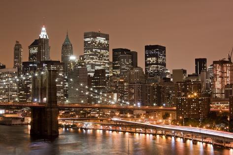 Brooklyn Bridge And Manhattan Skyline New York City Photographic
