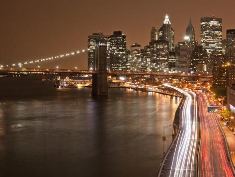 Brooklyn Bridge and Parkway, East River with Lower Manhattan Skyline, Brooklyn, New York, Usa Photographic Print