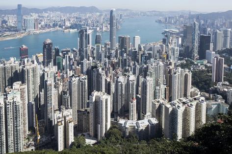 City Skyline from Victoria Peak, Hong Kong, China Photographic Print