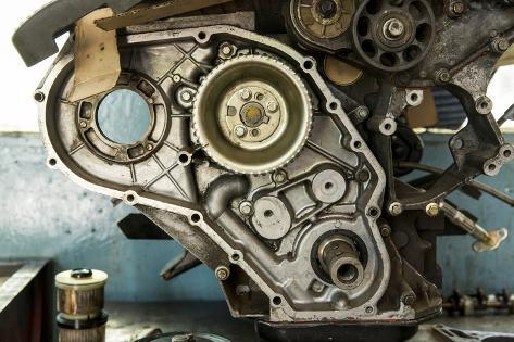 Land Rover Engine in Garage, Zambia Photographic Print