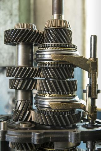 Land Rover Transmission Parts in Garage, Zambia Photographic Print