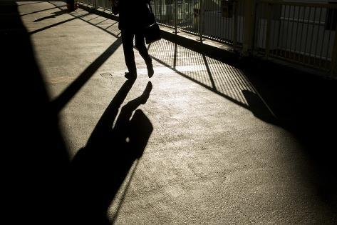 Shadow of Office Worker in Central District, Hong Kong, China Photographic Print