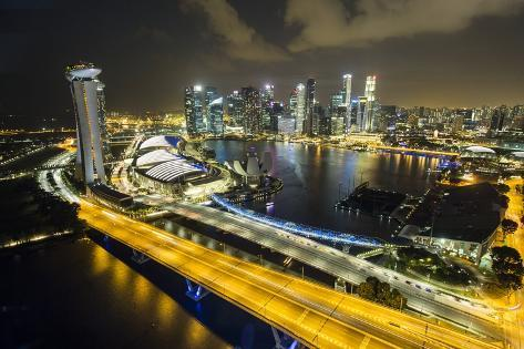 Singapore Skyline at Night Seen from Singapore Flyer Photographic Print