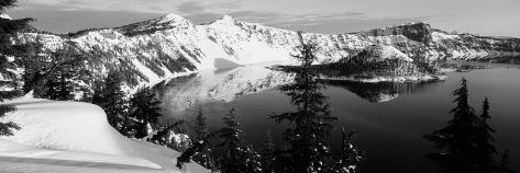 Snow-Covered Mountains with Crater Lake, Crater Lake National Park, Oregon, USA Photographic Print