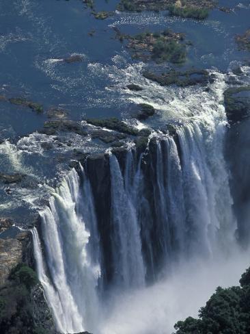 Zambezi River Flowing over Victoria Falls, Mosi-Oa-Tunya National Park, Zambia Photographic Print