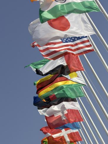 Flags of the Nations, Athens, Greece Photographic Print