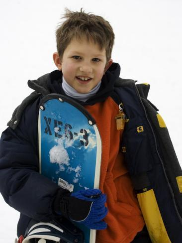 Portrait of Young Boy Snowboarder Model Release 2612, New York, USA Photographic Print