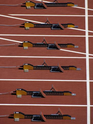 Starting Blocks for the Start of a Sprint Race Photographic Print