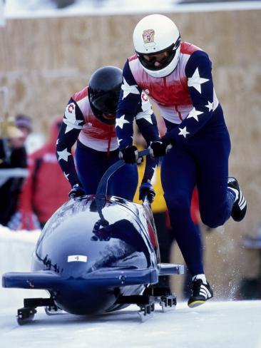 Two Man Bobsled Team Pushing Off at the Start, Lake Placid, New York, USA Photographic Print