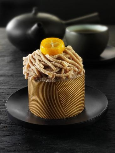 Small Chestnut Cake to Serve with Tea Photographic Print