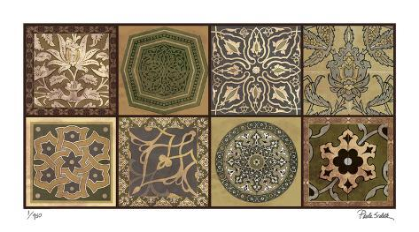 Moroccan Tiles - Gold Giclee Print