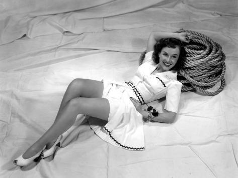 Paulette Goddard, Reclining on Her Sailboat, 1940 Photo