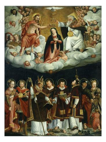 Coronation of Virgin and Saints Stretched Canvas Print