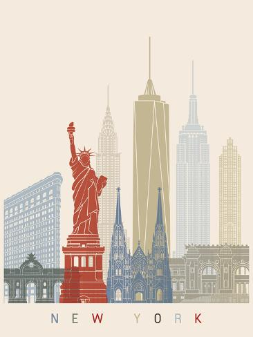 new york skyline poster arte por paulrommer na. Black Bedroom Furniture Sets. Home Design Ideas