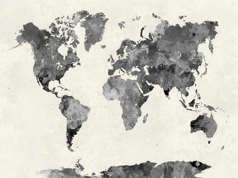 World Map In Watercolor Gray Giclee Print By Paulrommer AllPosters - Grey world map poster