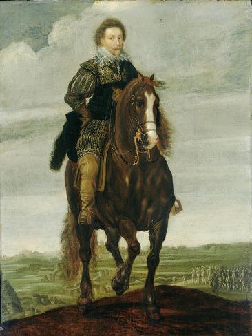 Portrait of Prince Frederick Henry on Horseback, Pauwels Van Hillegaert. Premium Giclee Print
