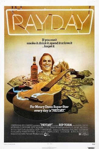 PAYDAY, US poster, from left: Rip Torn, Ahna Capri, 1973 Art Print