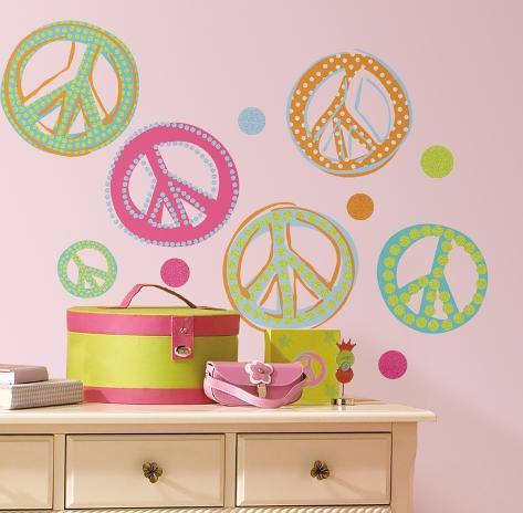 Peace Signs Peel U0026 Stick Wall Decals W/Glitter Wall Decal Part 65