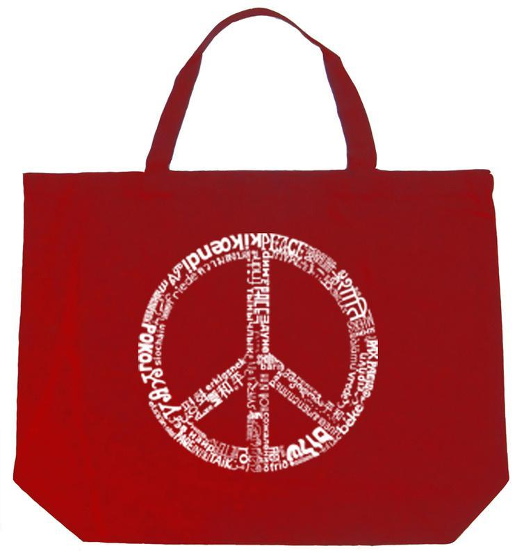 Peace Symbol In Different Languages Tote Bag Allposters