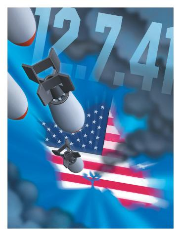 Pearl Harbor Day, Bombs Dropping on an American Flag,