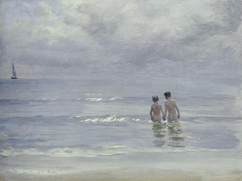 Boys Bathing on Boys Bathing on the Beach at Skagen Lámina giclée