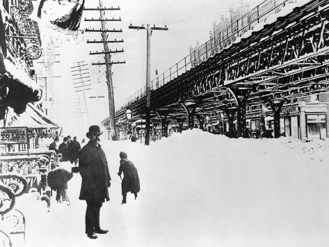 Pedestrians on Site of the Great Blizzard Photographic Print
