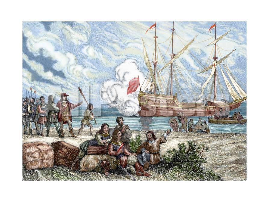 pedro de valdivia ca 1500 1553 spanish conquistador landing of pedro de valdivia on the giclee print allposters com allposters com